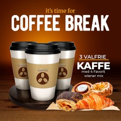 3 optional coffees with 3  warme croissanter